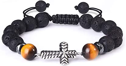 Jeka Lava Stone Bracelet with Silver Charm for Women Girls Kids 8mm Elastic Beaded Healing Energy Chakra Religious Mala Jewelry-Black