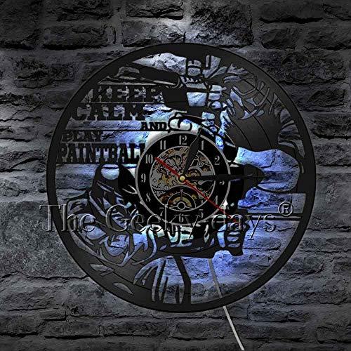 fdgdfgd Classic CD Record Keep Calm Paintball Guerra Vinilo LED Camping Deportes Reloj de Pared Decoración | Diseño de Arte único