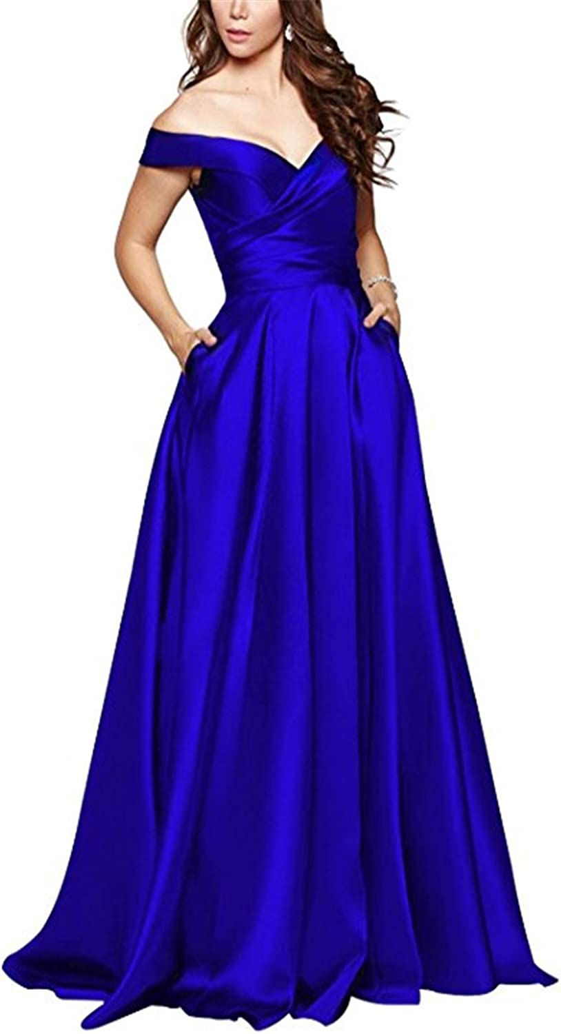 Homdor Strapless Off Shoulder Prom Dress with Pockets ALine Long Evening Gowns