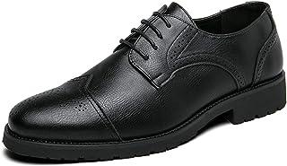 CAIFENG Oxfords de los Hombres Zapatos de Vestir Captoe Full Brogues 4-Eye Lace Up Block Tacón Anti Deslizamiento Puntiagu...
