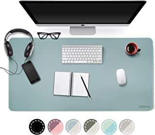 Dual-Sided Desk Pad Office Desk Mat, EMINTA Ultra Thin Waterproof PU Leather Mouse Pad Desk Blotter Protector, Desk Writing Mat for Office/Home (Light Blue/Silver, 31.5