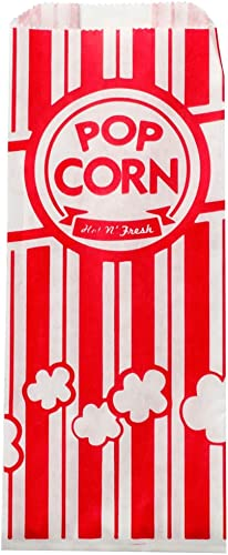 Paper Popcorn Bags 1 oz (Pack of 100) for Concession Stands, Movie Theaters, Snack Bars, Birthday Parties, and Home M...