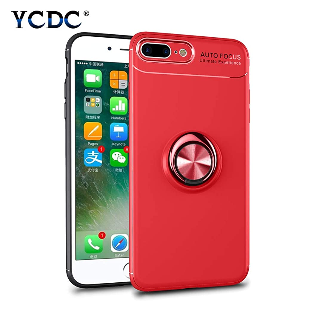 Magnetic Suction Case Red Ring Stand Phone Cover for iPhone 7 8 Plus 5.5