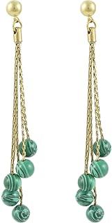 Karatcart Long Chain Pearl Fashion Earrings for Women (Malachite Green)
