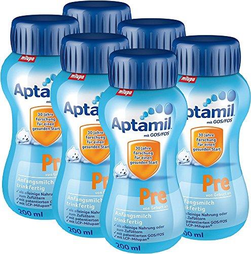 Aptamil Pre Anfangsmilch trinkfertig, 6er Pack (6 x 200 ml)