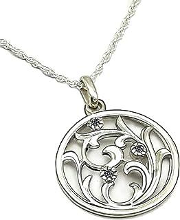 Collar Mujer con circonitas en Plata Esterlina 925- Colgante circular con hojas - Colgante circonitas