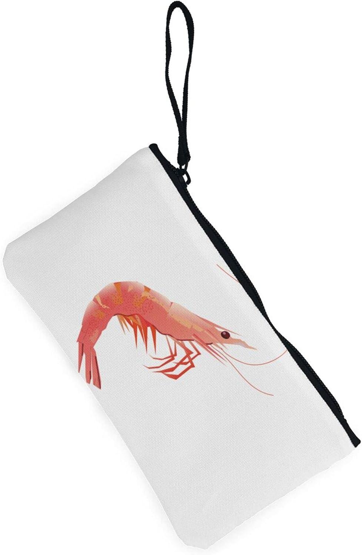 AORRUAM Cute Shrimp Canvas Coin Purse,Canvas Zipper Pencil Cases,Canvas Change Purse Pouch Mini Wallet Coin Bag