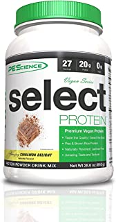 PEScience Select Vegan Protein Powder, Cinnamon Delight, 27 Serving, Pea and Brown Rice Blend