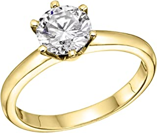 NDSTORE 1/2 ct IGI Certified Diamond Engagement Ring in 18K Yellow Gold (1/2 ct, L-M Color, I1-I2 Clarity)
