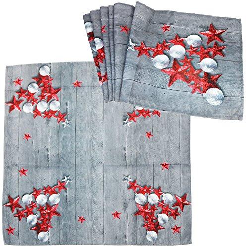 com-four® 2-teiliges Tischdecken Set bestehend aus Tischdecke und Tischläufer im weihnachtlichen Design mit roten Sternen (Rote Sterne - Set)