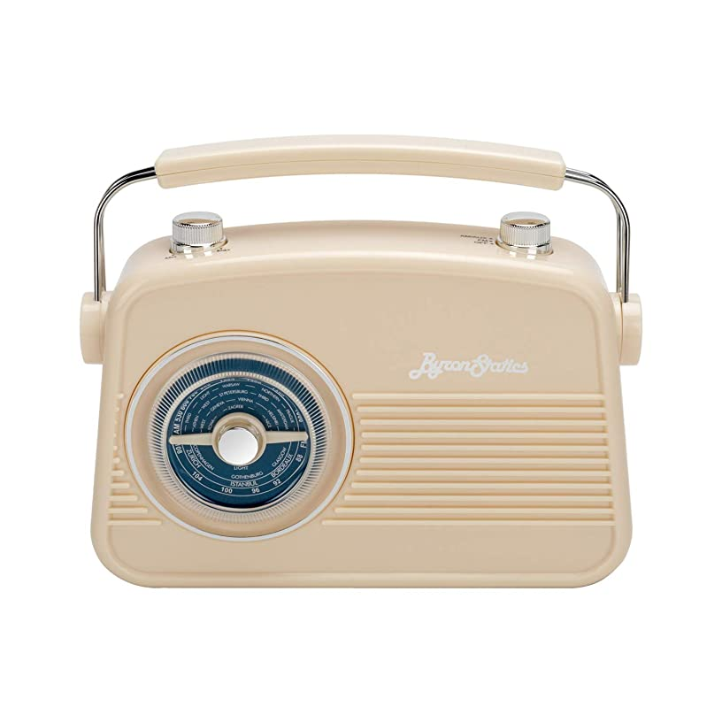 Byron Statics Radio Am FM Portable Radio Retro Classic Table Top Analog Radios Loud Speaker Large Rotary Dial Lightweight Large Handle Easy Use Stable Reception Adapter or 1.5V AA Battery Cream