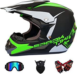 Wansheng Motocross-Helm für Erwachsene MX-Motorrad-Helm-Roller ATV-Helm-Straßenrennen D.O.T Zertifiziert Fox blau mit Handschuhen, Winddichte Schutzbrille S, M, L, XL,S55~56CM