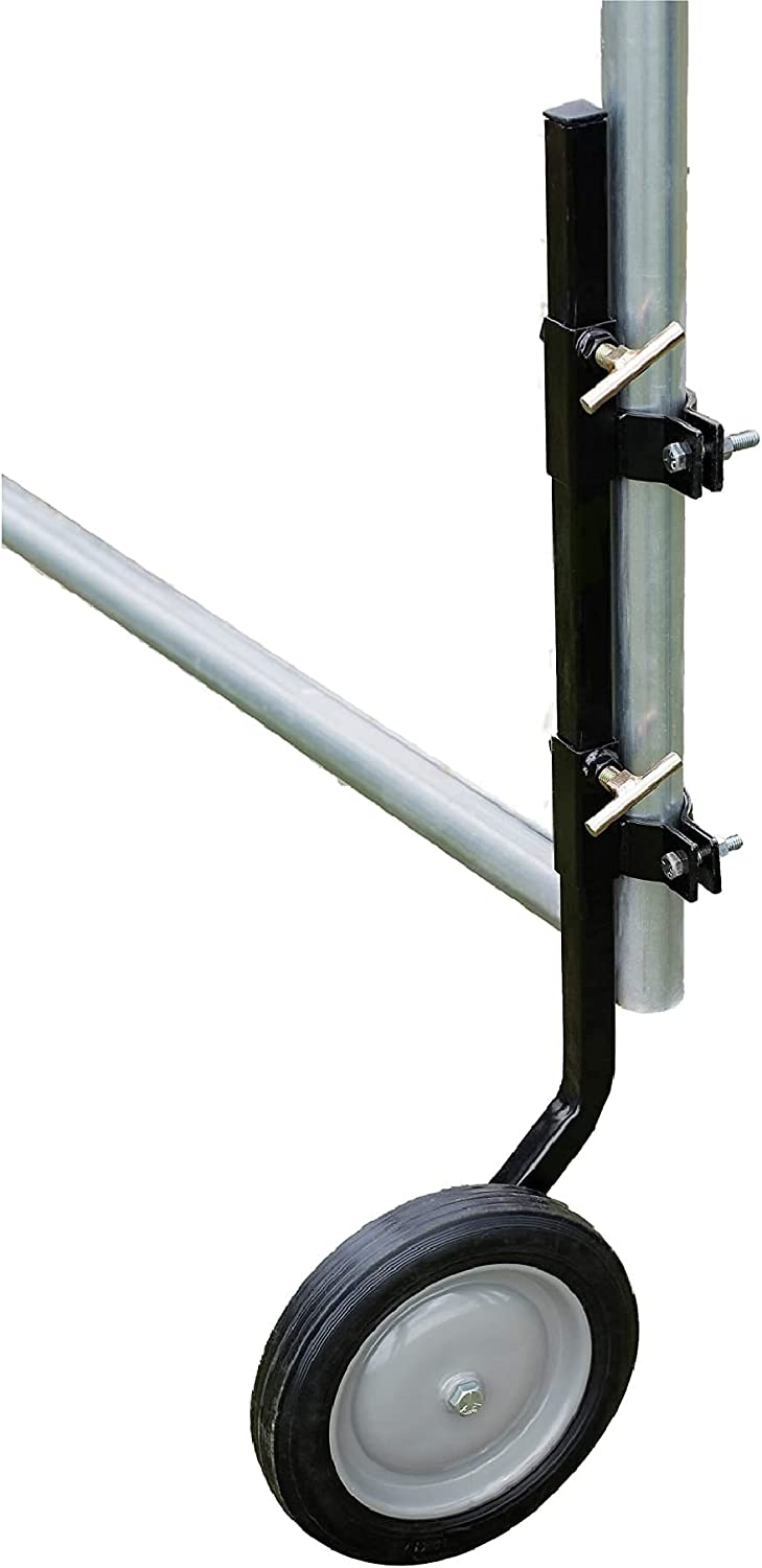 Powerfields Tall Gate Wheel for Homes & Farms - Adjustable Gate Hardware for Round Tubes (Black)