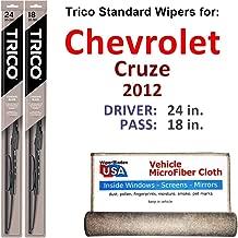 Wiper Blades for 2012 Chevrolet Cruze Driver & Passenger Trico Steel Wipers Set of 2 Bundled with Bonus MicroFiber Interior Car Cloth