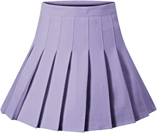 Huyghdfb Women High Waist Plain Pleated Skirt Skater Tennis School Uniforms A-Line Mini Skirt