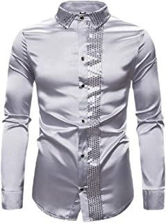 desolateness Men's Sequin Shiny Patchwork Shirt Long Sleeve Button Down Shirt Party Prom Blouse