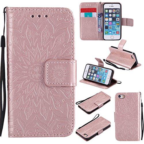 Hoesje voor iPhone 5S 5 SE Hoesje Flip, Soft PU Leather Shockproof Magnetische Stand Kaarthouder Beschermende Telefoon Cover voor Apple iPhone5S iPhone5 iPhone SE - ZIKT030009 Rose goud