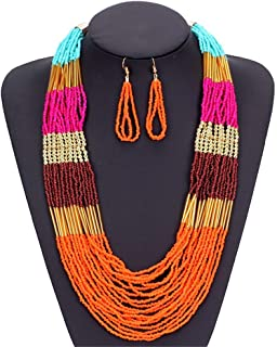 Women's Jewelry Set Exquisite Jewellery Gift Retro Bohemia Ethnic Multi Layers Beaded Statement Neckle Earrings Sets Lady ...