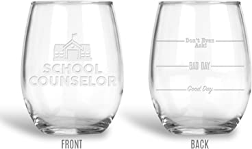 BadBananas School Counselor Gifts - 21 oz Engraved Stemless Wine Glass with Leatherette Coaster - Good Day, Bad Day, Don't Even Ask