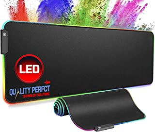 Quality Perfct Large RGB Gaming Mouse Pad Extended, Glowing Computer Keyboard Mousepad Water-Resistant with Non-Slip Rubbe...