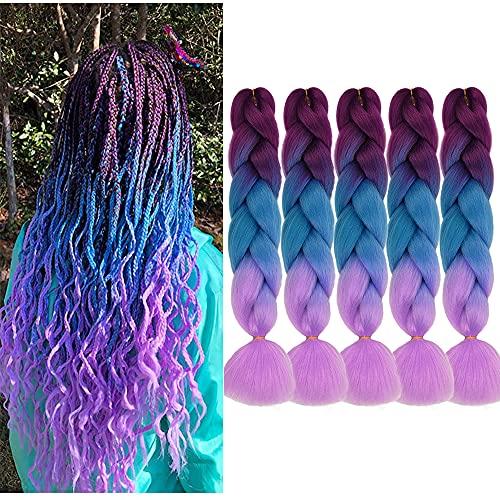 MYCHANSON 24' Three Color Ombre Purple Lake Blue Light Purple Braiding Hair Synthetic High Temperature Jumbo Braids (5pcs&Purple-Lake Blue-Light Purple)