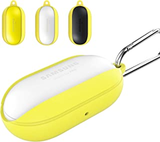 2019 Newest Galaxy Buds Case Cover Bean, Galaxy Buds Accessory Kit Protective Silicone Soft and Flexible, Shock and Scratch Resistant Nonslip Keychain Carabiner Case Compatible with Samsung G (Yellow)