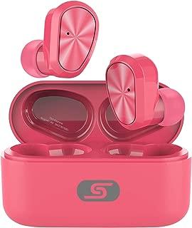 TWS Bluetooth 5.0 Wireless Earbuds Headset SZSAGO W9 True Wireless Earphones for iPhone/Samsung IPX7 Waterproof Smart Bluetooth Headphones Headsets with Patented Intelligent Charging case (Pink)