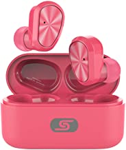 TWS Bluetooth 5.0 Wireless Earbuds Headset SZSAGO W9 True Wireless Earphones for iPhone/Samsung IPX7 Waterproof Smart Bluetooth Headphones Headsets with Patented Intelligent Charging case (Pink)