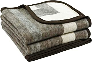 Alpaca Sheep Wool Blanket King/Full-Queen/Twin Size Thick Heavyweight Camping Outdoors Striped Design (Brown/Beige/Gray, Full/Queen)
