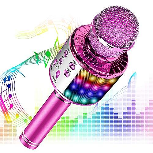 Phiraggit Micrófono Karaoke Bluetooth, Microfono Inalámbrico Karaoke Portátil con Altavoz y LED para Niños Canta Partido Musica, Compatible con Android/iOS PC, AUX o Teléfono Inteligente (Rosa)