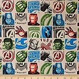 Marvel 0661007 Avengers Hero Block in Cream Fabric Stoff,