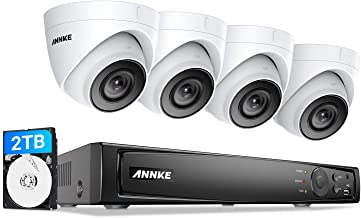 ANNKE 5MP POE Security Camera System, 8CH H.265+ PoE NVR, EXIR Night Vision, 4pcs ANNKE C500 PoE IP Cameras 2TB HDD, Used Indoors and Outdoors, Store More Video for Home Business Surveillance