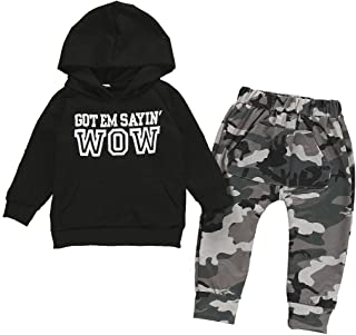 Toddler Baby Boys Long Sleeve Outfit Hoodie Sweatshirts & Pants Newborn Fall Sweatsuit Infant Winter Clothes Set