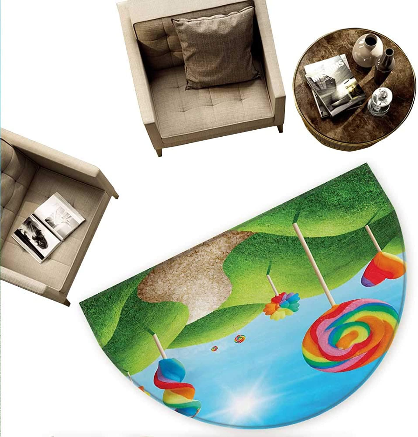 Fantasy Semicircular Cushion Fantasy Candy Land with Delicious Lollipops and Sweets Sun Cheerful Fun Print Entry Door Mat H 70.8  xD 106.3  Green bluee Red