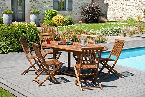 MACABANE 501189 Table Ovale Couleur Miel en Teck Dimension 120/180cm X 90cm X 75cm