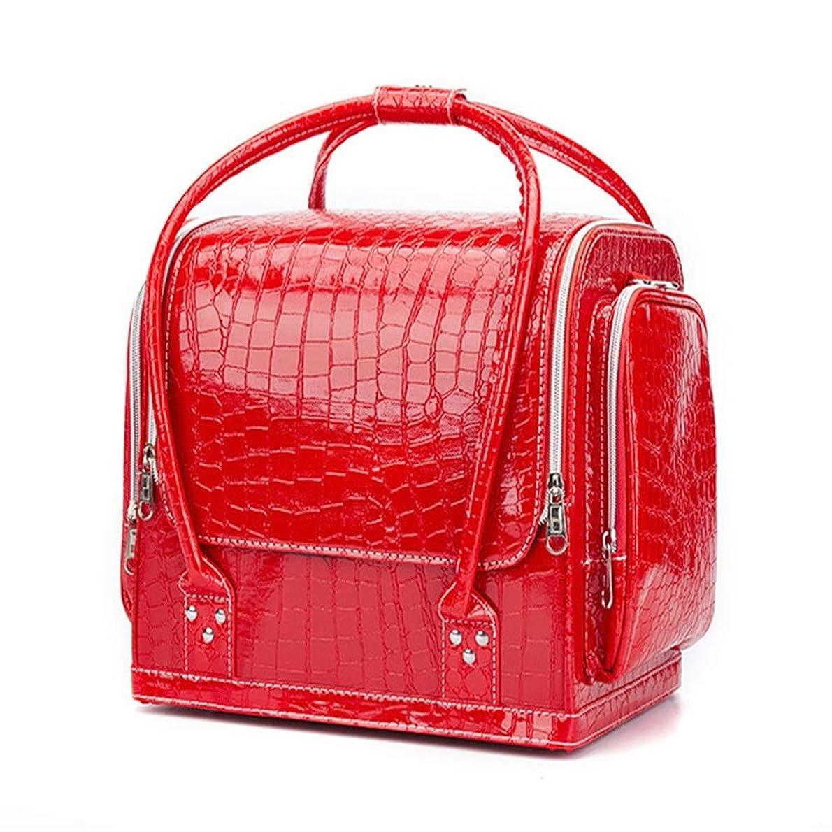 評価可能あいにくレビュー化粧オーガナイザーバッグ ポータブルプロフェッショナルpuレザー旅行メイクアップバッグパターンメイクアップアーティストケーストレインボックス化粧品オーガナイザー収納用十代の女の子女性アーティスト 化粧品ケース (色 : 赤)