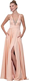 Zhongde Women's Side Slit V Neck Beaded Satin Prom Dress Long Formal Evening Gown with Pockets