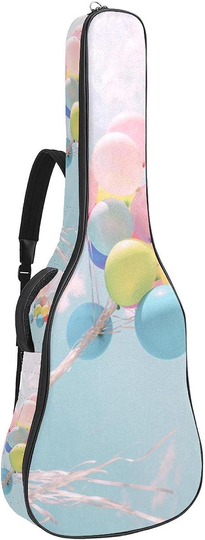 Bolsa de guitarra acústica acolchada gruesa impermeable doble correa de hombro ajustable Guitarras bolsa de concierto chica sosteniendo globos de colores 42x16x4.7 pulgadas
