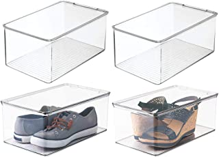 mDesign Stackable Closet Plastic Storage Bin Box with Lid - Container for Organizing Mens and Womens Shoes, Booties, Pumps...