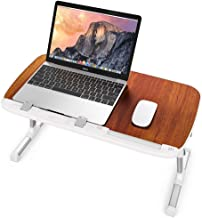Laptop Table for Bed, TaoTronics Foldable Lap Desks, Bed Desk Height Adjustable, Portable Bed Tray Table for Couch and Sofa, Laptop Stand for Lap and Writing - Brown