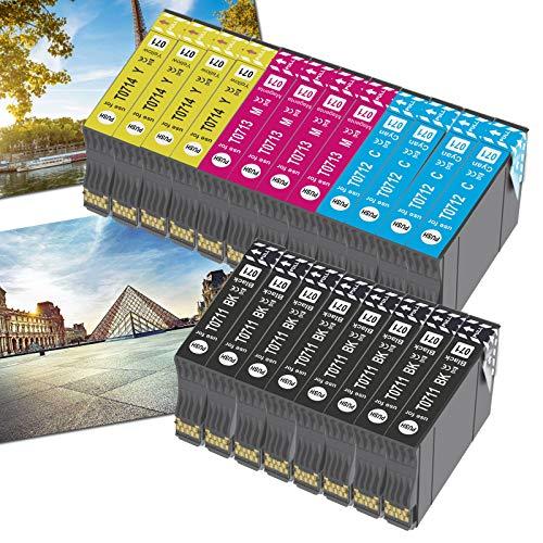 OGOUGUAN T0715 - Cartucho de tinta compatible con Epson T0711, T0712, T0713, T0714, con Epson Stylus SX200, SX215, SX218, SX400, SX415 SX510W, SX515W, DX4450, DX5050, DX6000 y DX8450(20 unidades)