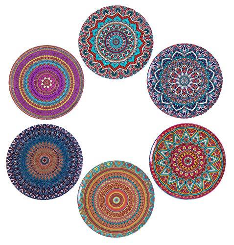BABEL ARTESANIA Posavasos (Set de 6) - Regalos originales decorativos para café, cocina, uno drink, taza, vino, tazas, vasos, cristal- juego de mesas, base corcho para mesa de madera (Mándala)