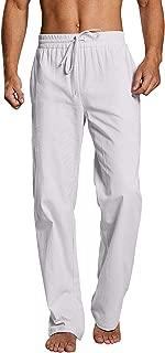 Enjoybuy Mens Casual Linen Pants Elastic Drawstring Waist Summer Loose Fit Long Beach Pants