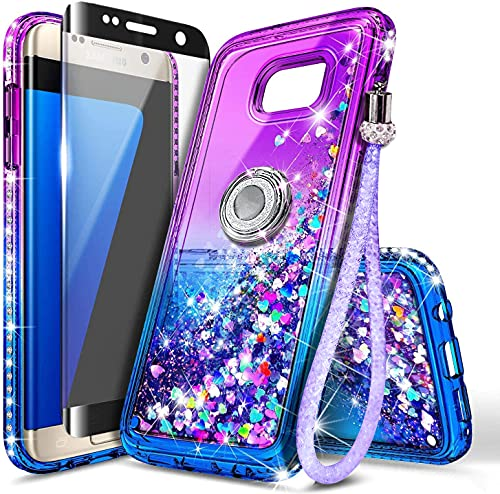 NGB Case for Samsung Galaxy S7 Edge with Screen Protector (Maximum Coverage, Flexible TPU Film), Ring Holder, Girls Women Liquid Bling Sparkle Fashion Glitter Quicksand Clear Cute Case -Purple/Blue