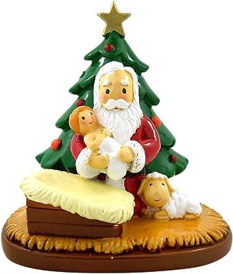 Needzo Little Drops of Water Adoring Santa Holding Baby Jesus, 5 Inch