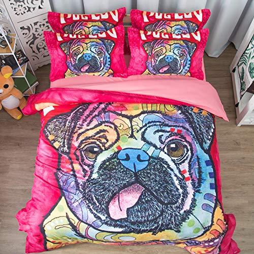 Hllhpc Quilt cover driedelig vel ins wind net rode lakens op eenpersoonsbed