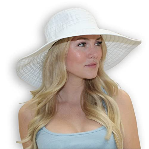 a04e7d3704c Women s Wide Brim Packable Sun Travel Hat for Large Heads - Ginger White
