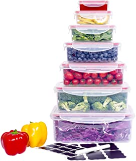 Large Food Storage Containers with Lids Airtight (Set of 7) CASALINGO Plastic Microwave Bento box Outdoor Picnic Food Stor...
