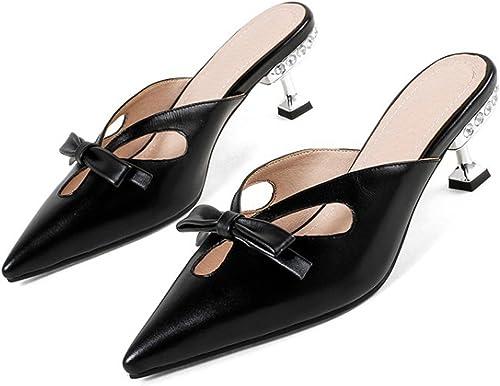 ZXMXY Femmes Chaussures Summer Light Soles Sandales Chaton Talon Bout Pointu Boucle pour Robe Noir Outdoor Sandals