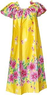 沖縄生まれのムームードレス、フレンチスリーブでゆったり着れます!黄地にピンクのハイビスカスfr-04